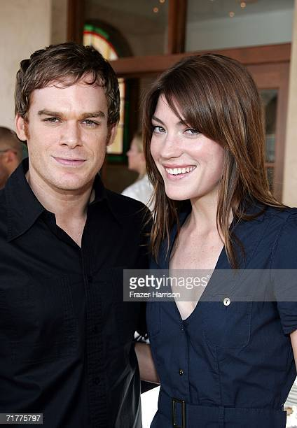 Actress Jennifer Carpenter and actor Michael C Hall attend the Showtime Championship Boxing Hosts 'No Risk No Reward' Tailgate Party held at Liberty...