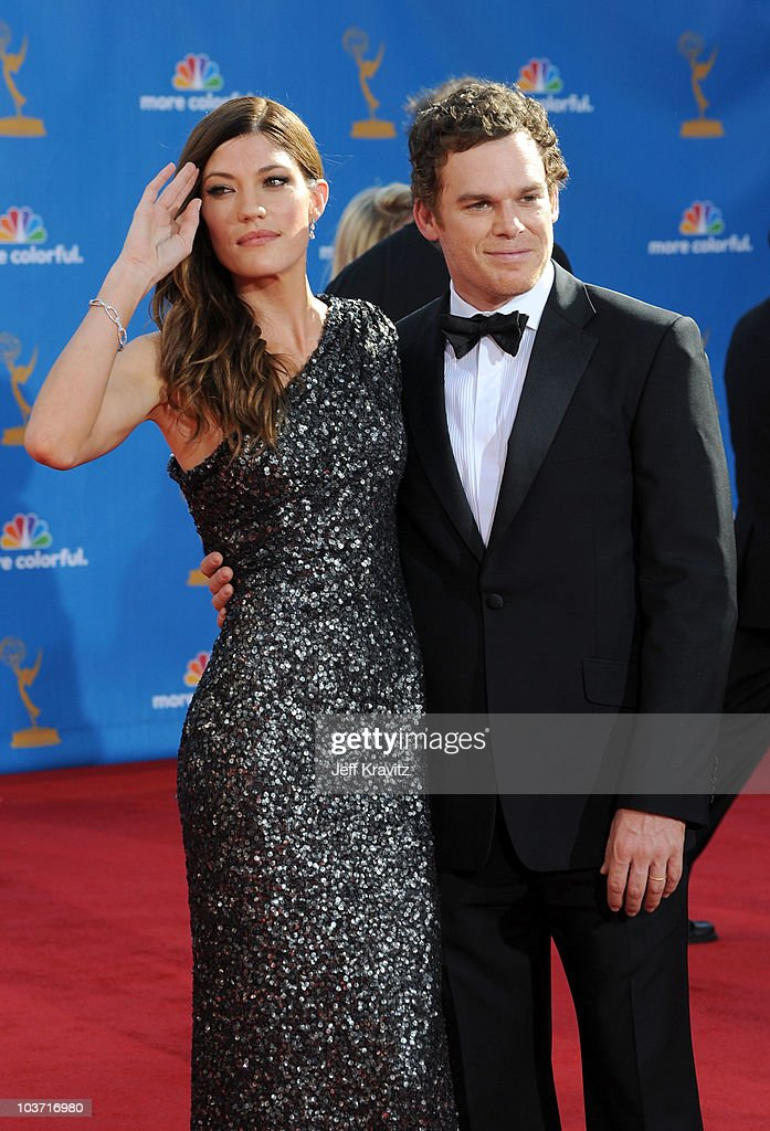 Actress Jennifer Carpenter and husband actor Michael C. Hall arrive at the 62nd Annual Primetime Emmy Awards held at the Nokia Theatre L.A. Live on August 29, 2010 in Los Angeles, California.
