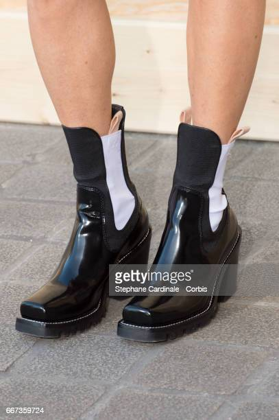 Actress Jennifer Connelly boot detail attends the Louis Vuitton's Dinner for the Launch of Bags by Artist Jeff Koons at Musee du Louvre on April 11...