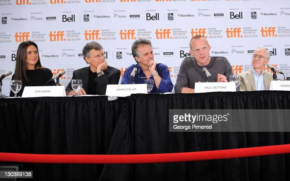 Actress Jennifer Connelly director Jon Amiel writer John Collee actor Paul Bettany and writer Randal Keynes speak onstage at the 'Creation' press...