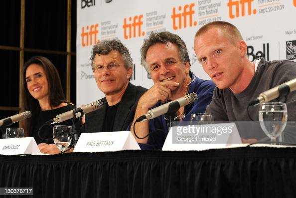 Actress Jennifer Connelly director Jon Amiel writer John Collee and actor Paul Bettany speak onstage at the 'Creation' press conference held at the...