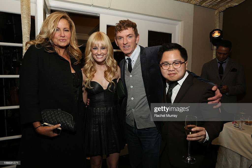 Actress <a gi-track='captionPersonalityLinkClicked' href=/galleries/search?phrase=Jennifer+Coolidge&family=editorial&specificpeople=239149 ng-click='$event.stopPropagation()'>Jennifer Coolidge</a>, actress <a gi-track='captionPersonalityLinkClicked' href=/galleries/search?phrase=Beth+Behrs&family=editorial&specificpeople=6556378 ng-click='$event.stopPropagation()'>Beth Behrs</a>, Executive Producer <a gi-track='captionPersonalityLinkClicked' href=/galleries/search?phrase=Michael+Patrick+King&family=editorial&specificpeople=213304 ng-click='$event.stopPropagation()'>Michael Patrick King</a> and actor Matthew Moy attend the L'Oreal cocktail party prior to the HBO Luxury Lounge at Four Seasons Hotel Los Angeles at Beverly Hills on January 11, 2013 in Beverly Hills, California.