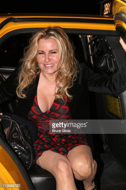 Actress Jennifer Coolidge poses as she steps out of an NYC taxi in Midtown Manhattan on November 6 2007 in New York City