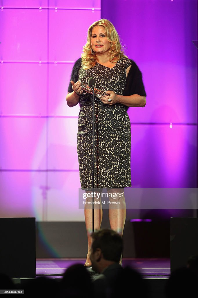 Actress <a gi-track='captionPersonalityLinkClicked' href=/galleries/search?phrase=Jennifer+Coolidge&family=editorial&specificpeople=239149 ng-click='$event.stopPropagation()'>Jennifer Coolidge</a> speaks onstage at 'TrevorLIVE LA' honoring Jane Lynch and Toyota for the Trevor Project at Hollywood Palladium on December 8, 2013 in Hollywood, California.