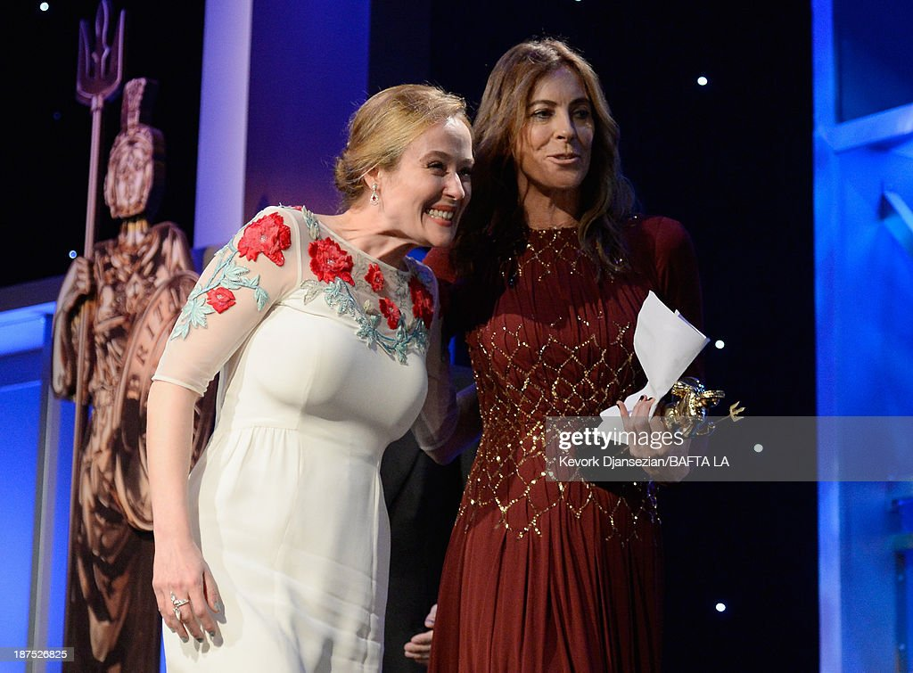Actress Jennifer Ehle (L) and director Kathryn Bigelow, recipient of the John Schlesinger Britannia Award for Excellence in Directing, attend the 2013 BAFTA LA Jaguar Britannia Awards presented by BBC America at The Beverly Hilton Hotel on November 9, 2013 in Beverly Hills, California.