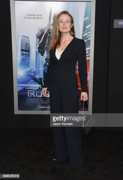 Actress Jennifer Ehle attends the premiere of Columbia Pictures' 'Robocop' on February 10 2014 in Hollywood California