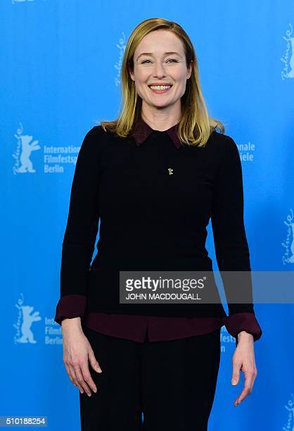 US actress Jennifer Ehle poses during a photocall for the film 'A Quiet Passion' during the 66th Berlinale Film Festival in Berlin on February 14...