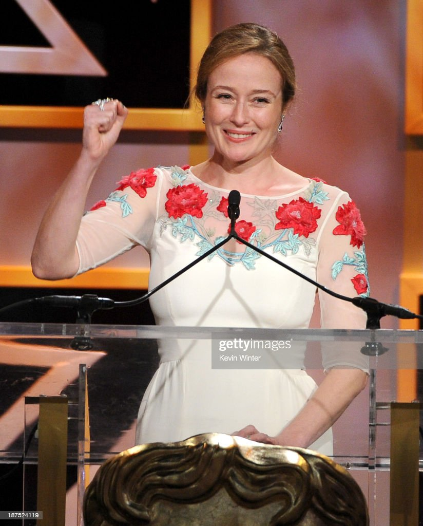 Actress <a gi-track='captionPersonalityLinkClicked' href=/galleries/search?phrase=Jennifer+Ehle&family=editorial&specificpeople=776571 ng-click='$event.stopPropagation()'>Jennifer Ehle</a> speaks onstage during the 2013 BAFTA LA Jaguar Britannia Awards presented by BBC America at The Beverly Hilton Hotel on November 9, 2013 in Beverly Hills, California.