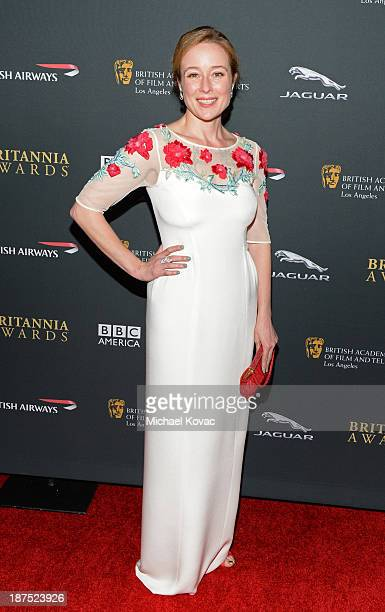 Actress Jennifer Ehle with Stylebopcom attends the 2013 BAFTA LA Jaguar Britannia Awards presented by BBC America at The Beverly Hilton Hotel on...