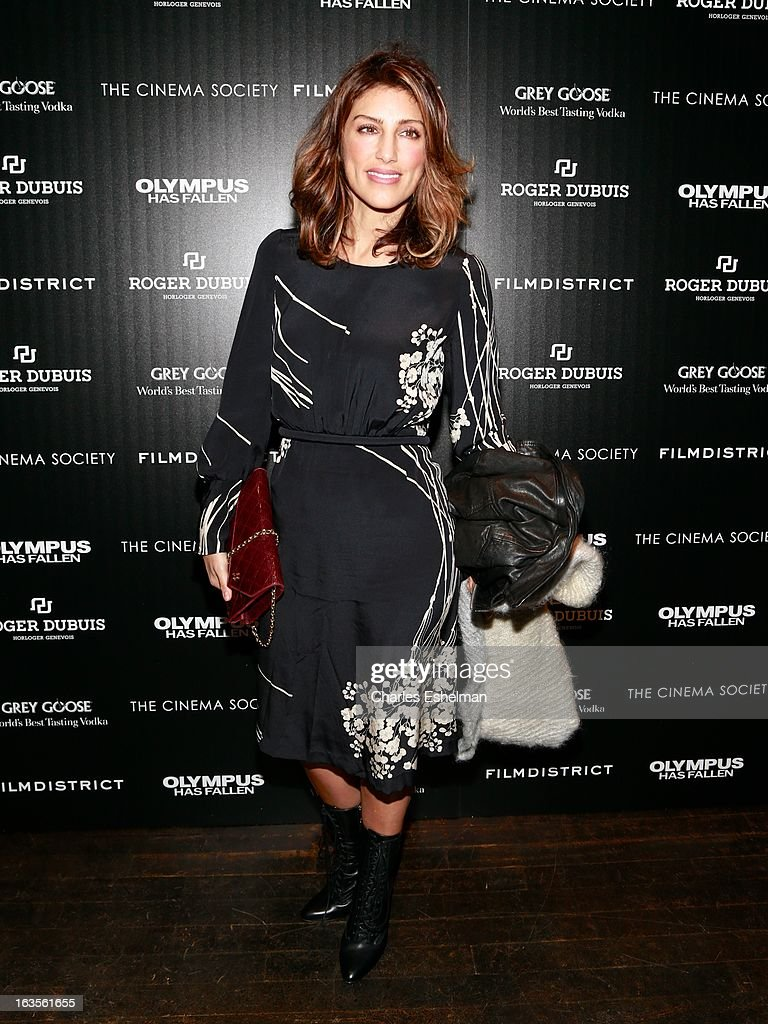 Actress Jennifer Esposito attends The Cinema Society with Roger Dubuis and Grey Goose screening of FilmDistrict's 'Olympus Has Fallen' at the Tribeca Grand Screening Room on March 11, 2013 in New York City.