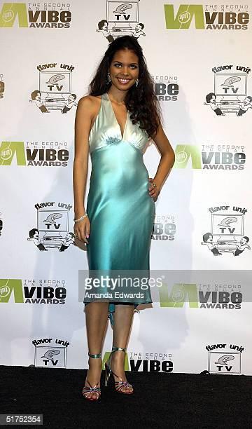 Actress Jennifer Freeman poses in the press room at the 2004 Vibe Awards on UPN at Barker Hangar November 15 2004 in Santa Monica California