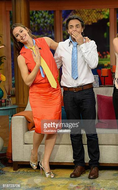 Actress Jennifer Garner and actor Eugenio Derbez on the set Of Univisions 'Despierta America' to promote 'Miracles From Heaven' at Univision Studios...