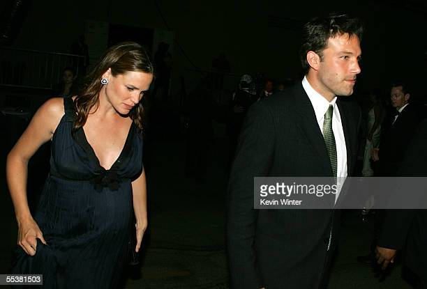 Actress Jennifer Garner and husband Ben Affleck are seen backstage during the 2005 Creative Arts Emmy Awards held at the Shrine Auditorium on...