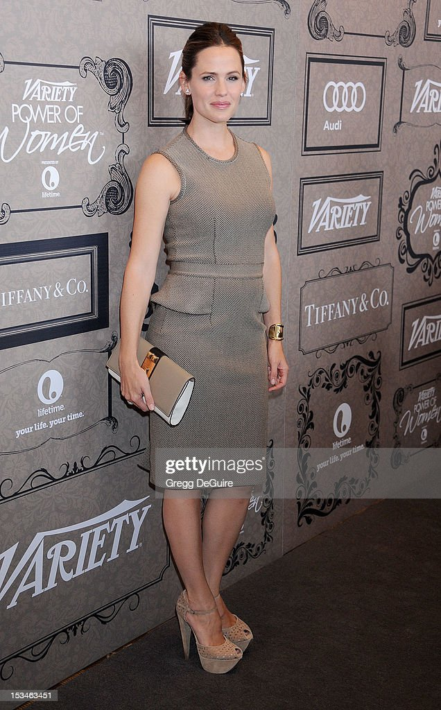 Actress <a gi-track='captionPersonalityLinkClicked' href=/galleries/search?phrase=Jennifer+Garner&family=editorial&specificpeople=201813 ng-click='$event.stopPropagation()'>Jennifer Garner</a> arrives at Variety's 4th Annual Power Of Women event at the Beverly Wilshire Four Seasons Hotel on October 5, 2012 in Beverly Hills, California.