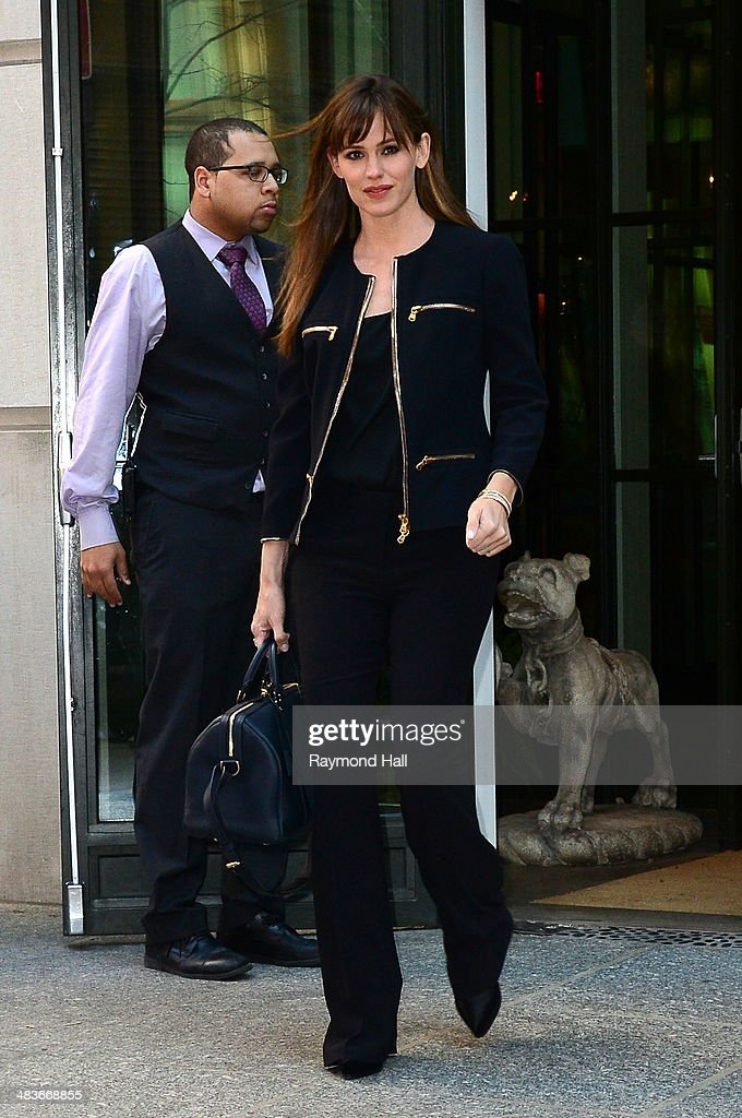Actress Jennifer Garner is seen coming out of a hotel in Soho on April 9, 2014 in New York City.