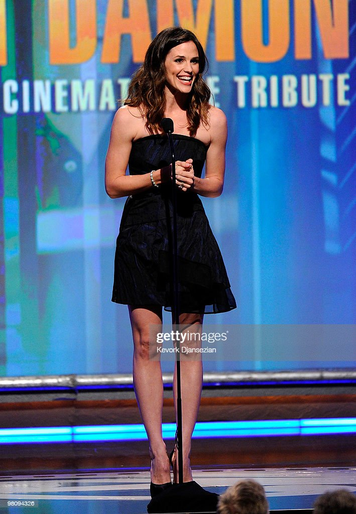 Actress <a gi-track='captionPersonalityLinkClicked' href=/galleries/search?phrase=Jennifer+Garner&family=editorial&specificpeople=201813 ng-click='$event.stopPropagation()'>Jennifer Garner</a> speaks onstage during American Cinematheque 24th Annual Award Presentation To Matt Damon at The Beverly Hilton hotel on March 27, 2010 in Beverly Hills, California.
