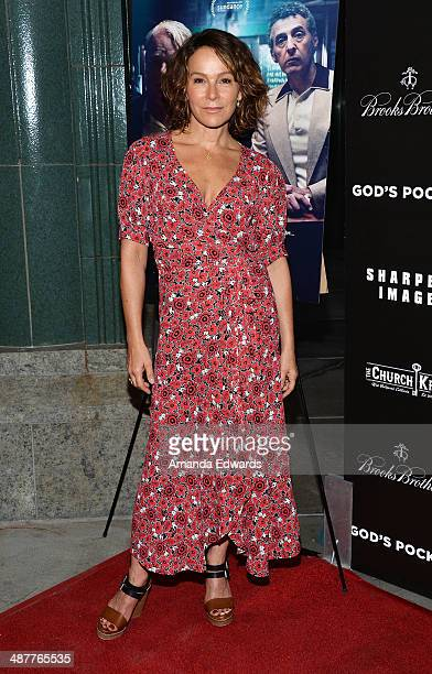 Actress Jennifer Grey arrives at the Film Independent at LACMA screening and QA of 'God's Pocket' at the Bing Theatre at LACMA on May 1 2014 in Los...