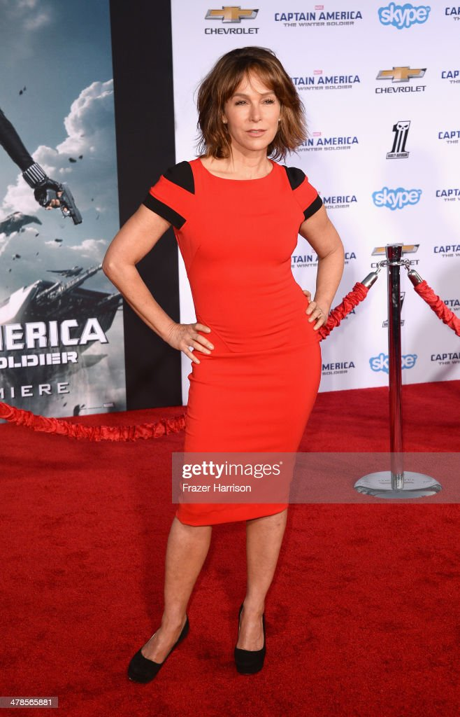 Actress <a gi-track='captionPersonalityLinkClicked' href=/galleries/search?phrase=Jennifer+Grey&family=editorial&specificpeople=220265 ng-click='$event.stopPropagation()'>Jennifer Grey</a> arrives at the premiere Of Marvel's 'Captain America:The Winter Soldier at the El Capitan Theatre on March 13, 2014 in Hollywood, California.