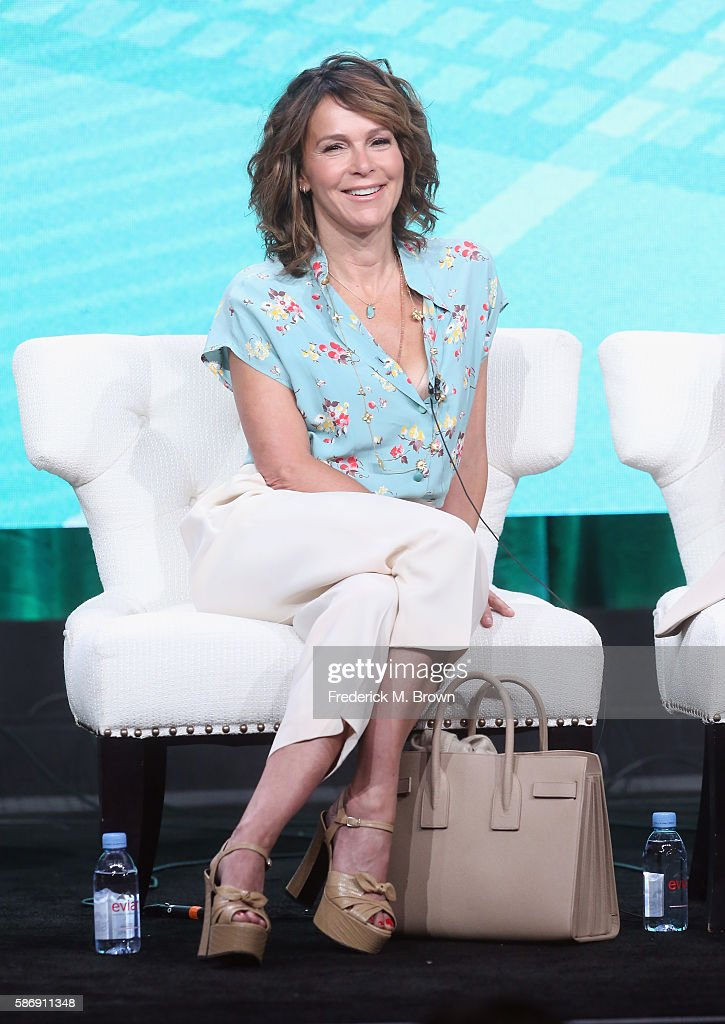 Actress Jennifer Grey speaks onstage at the 'Red Oaks' panel discussion during the Amazon portion of the 2016 Television Critics Association Summer Tour at The Beverly Hilton Hotel on August 7, 2016 in Beverly Hills, California.