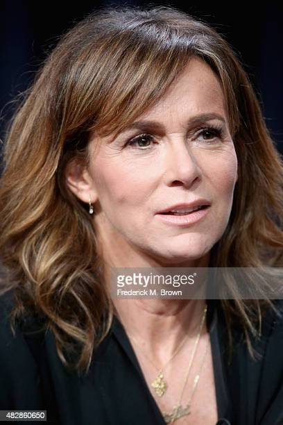 Actress Jennifer Grey speaks onstage during the 'Red Oaks' panel discussion at the Amazon Studios portion of the 2015 Summer TCA Tour at The Beverly...