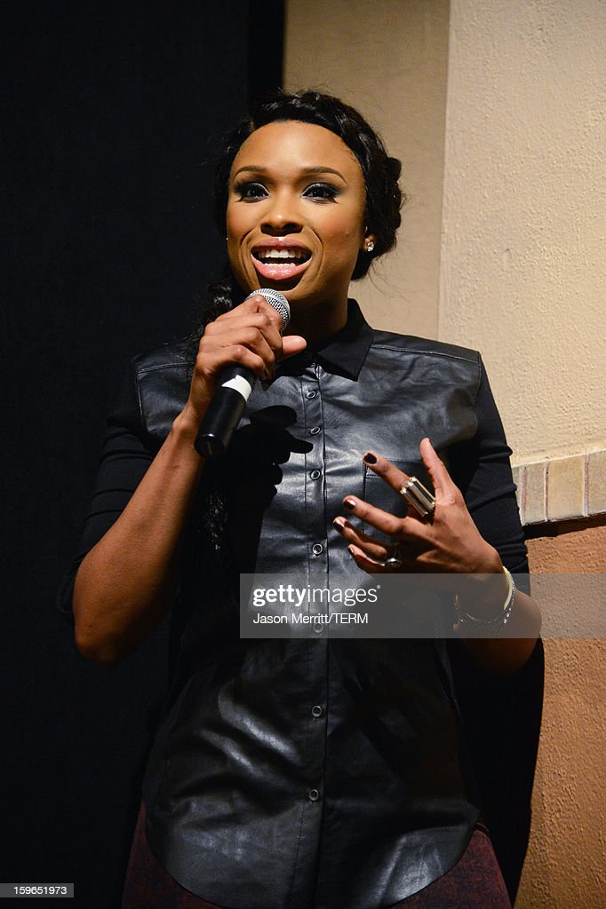 Actress Jennifer Hudson speaks onstage at the 'The Inevitable Defeat Of Mister And Pete' premiere during the 2013 Sundance Film Festival at Library Center Theater on January 17, 2013 in Park City, Utah.