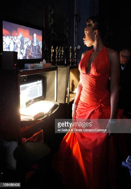 Actress Jennifer Hudson stands backstage at the 83rd Annual Academy Awards held at the Kodak Theatre on February 27 2011 in Hollywood California