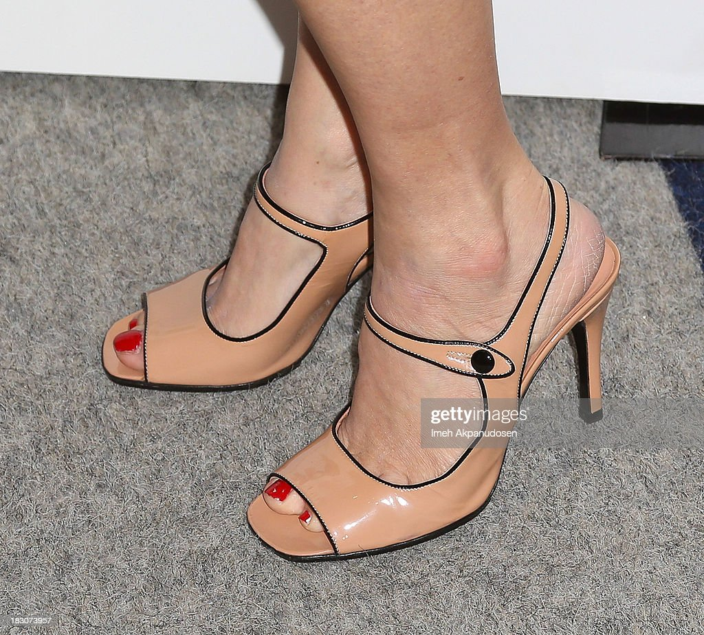 Actress Jennifer Jason Leigh (shoe detail) attends the premiere of Sony Pictures Classics' 'Kill Your Darlings' at Writers Guild Theater on October 3, 2013 in Beverly Hills, California.