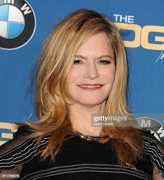 Actress Jennifer Jason Leigh poses in the press room at the 68th annual Directors Guild of America Awards at the Hyatt Regency Century Plaza on...