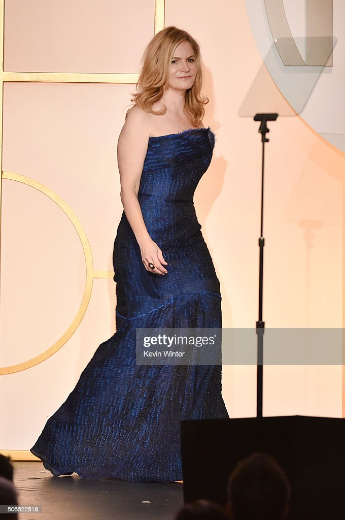 Actress Jennifer Jason Leigh walks onstage at the 27th Annual Producers Guild Of America Awards at the Hyatt Regency Century Plaza on January 23, 2016 in Century City, California.