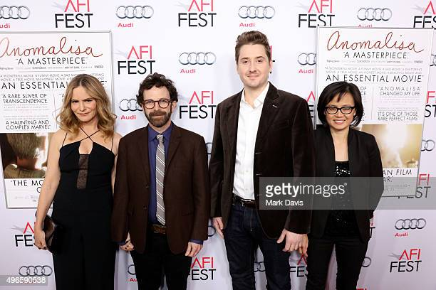 Actress Jennifer Jason Leigh writer/director/producer Charlie Kaufman director/producer Duke Johnson and producer Rosa Tran attend the screening and...