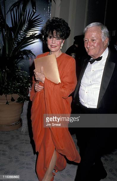 Actress Jennifer Jones and Rupert Callen during American Film Institute Honors Gregory Peck at Beverly Hilton Hotel in Beverly Hills CA United States