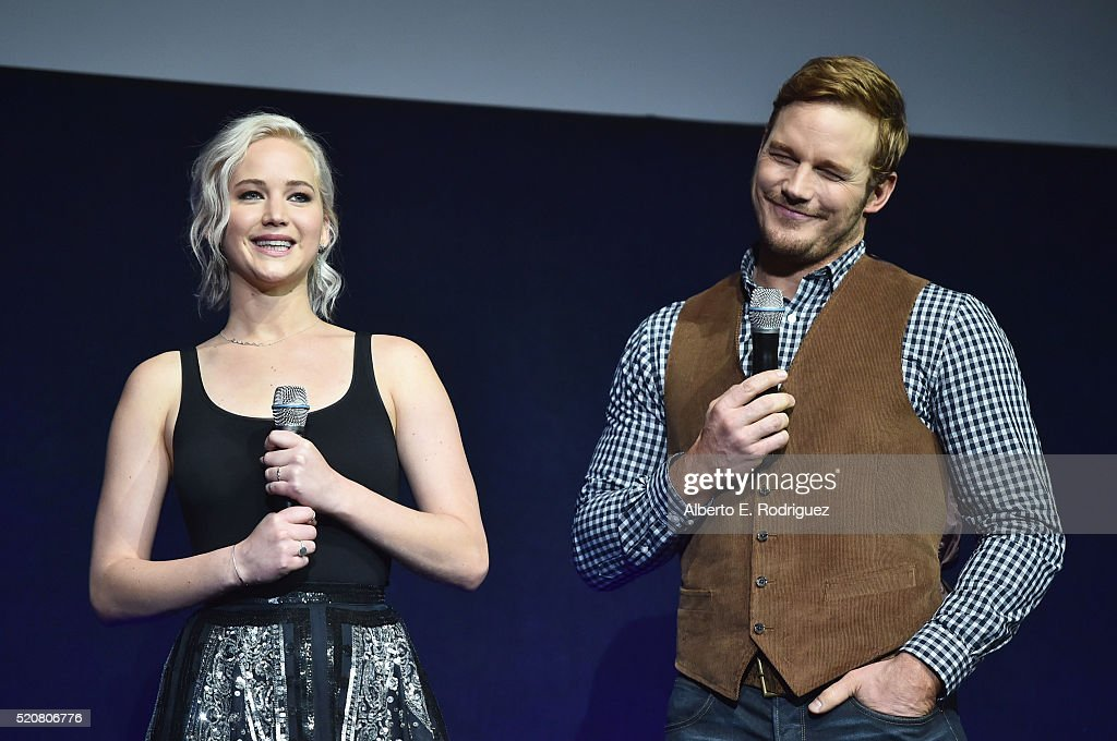 Actress Jennifer Lawrence and actor Chris Pratt speak onstage during CinemaCon 2016 An Evening with Sony Pictures Entertainment Celebrating the...