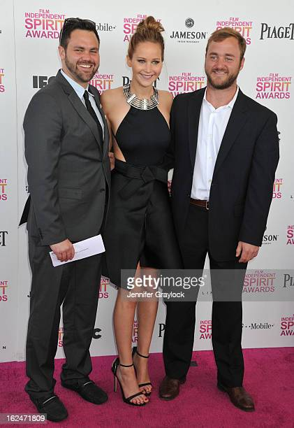 Actress Jennifer Lawrence and brothers attend the 2013 Film Independent Spirit Awards held on the beach in Santa Monica on February 23 2013 in Santa...