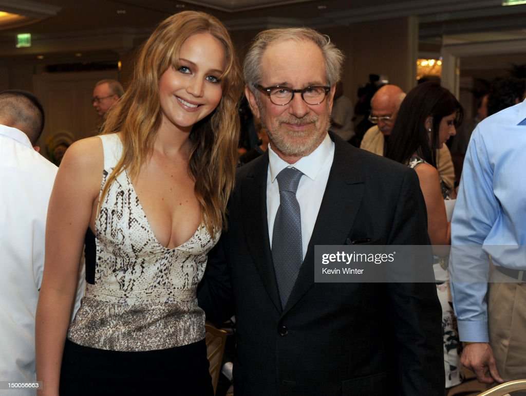 Actress <a gi-track='captionPersonalityLinkClicked' href=/galleries/search?phrase=Jennifer+Lawrence&family=editorial&specificpeople=1596040 ng-click='$event.stopPropagation()'>Jennifer Lawrence</a> and director <a gi-track='captionPersonalityLinkClicked' href=/galleries/search?phrase=Steven+Spielberg&family=editorial&specificpeople=202022 ng-click='$event.stopPropagation()'>Steven Spielberg</a> attend the Hollywood Foreign Press Association's 2012 Installation Luncheon held at the Beverly Hills Hotel on August 9, 2012 in Beverly Hills, California.