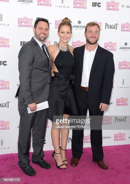 Actress Jennifer Lawrence and her brothers attend the 2013 Film Independent Spirit Awards at Santa Monica Beach on February 23 2013 in Santa Monica...