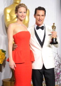 Actress Jennifer Lawrence and Matthew McConaughey winner of Best Performance by an Actor in a Leading Role for 'Dallas Buyers Club' pose in the press...
