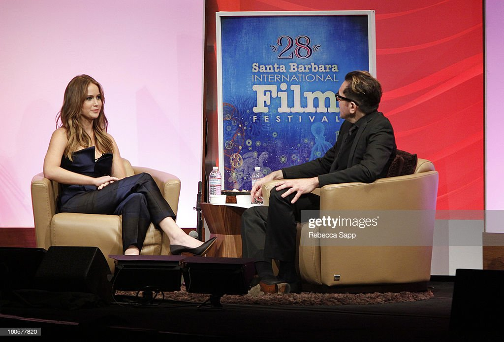 Actress Jennifer Lawrence and SBIFF director Roger Durling attend the 28th Santa Barbara International Film Festival Outstanding Performer Of The Year Presented To Jennifer Lawrence on February 2, 2013 in Santa Barbara, California.