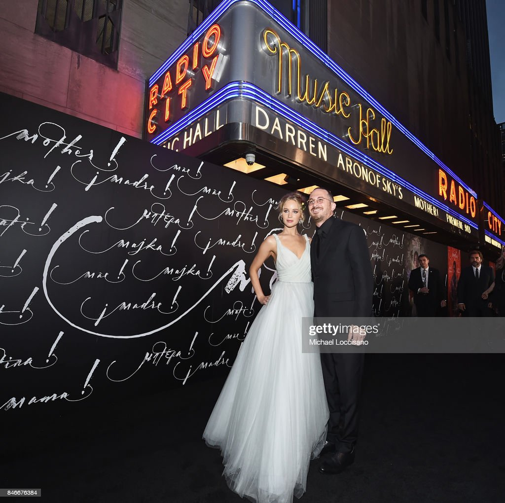 Actress Jennifer Lawrence (L) and writer/director Darren Aronofsky attend the New York premiere of 'mother!' at Radio City Music Hall onSeptember 13, 2017 in New York, New York.