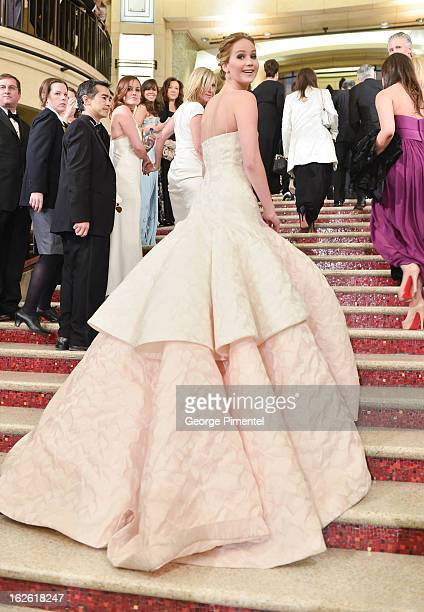 Actress Jennifer Lawrence arrive at the Oscars at Hollywood Highland Center on February 24 2013 in Hollywood California at Hollywood Highland Center...