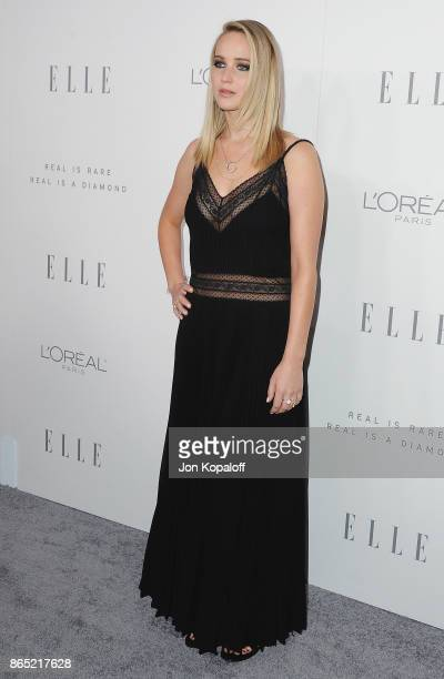 Actress Jennifer Lawrence arrives at ELLE's 24th Annual Women in Hollywood Celebration at Four Seasons Hotel Los Angeles at Beverly Hills on October...