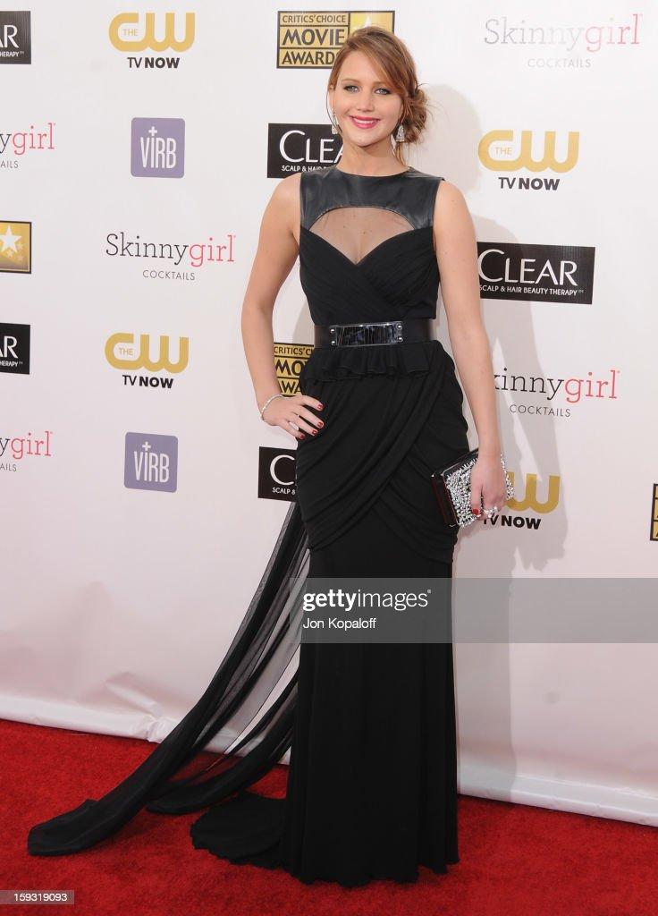 Actress Jennifer Lawrence arrives at the 18th Annual Critics' Choice Movie Awards at Barker Hangar on January 10, 2013 in Santa Monica, California.