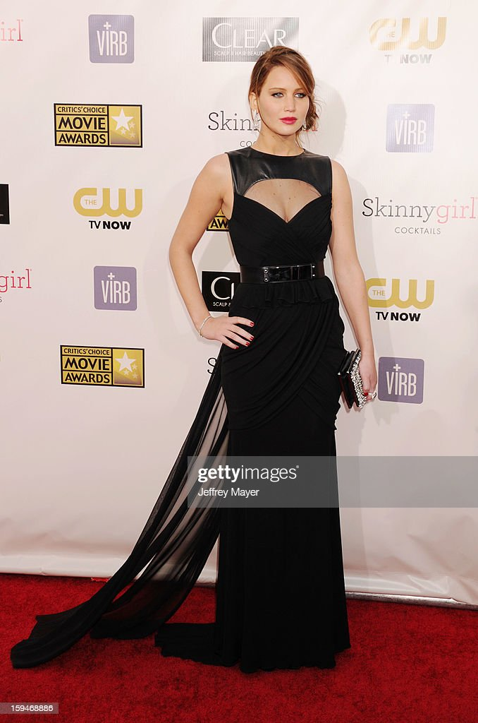 Actress Jennifer Lawrence arrives at the 18th Annual Critics' Choice Movie Awards at The Barker Hanger on January 10, 2013 in Santa Monica, California.