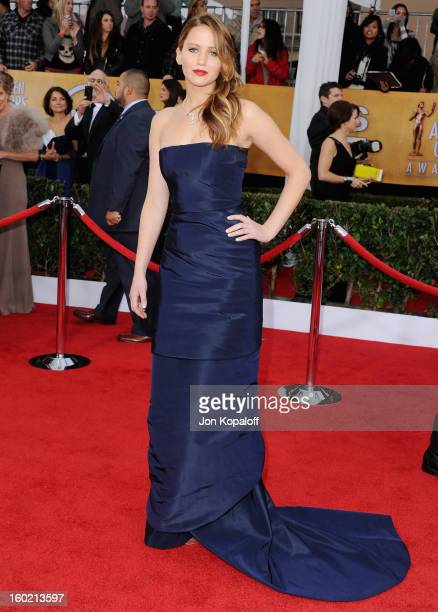 Actress Jennifer Lawrence arrives at the 19th Annual Screen Actors Guild Awards at The Shrine Auditorium on January 27 2013 in Los Angeles California