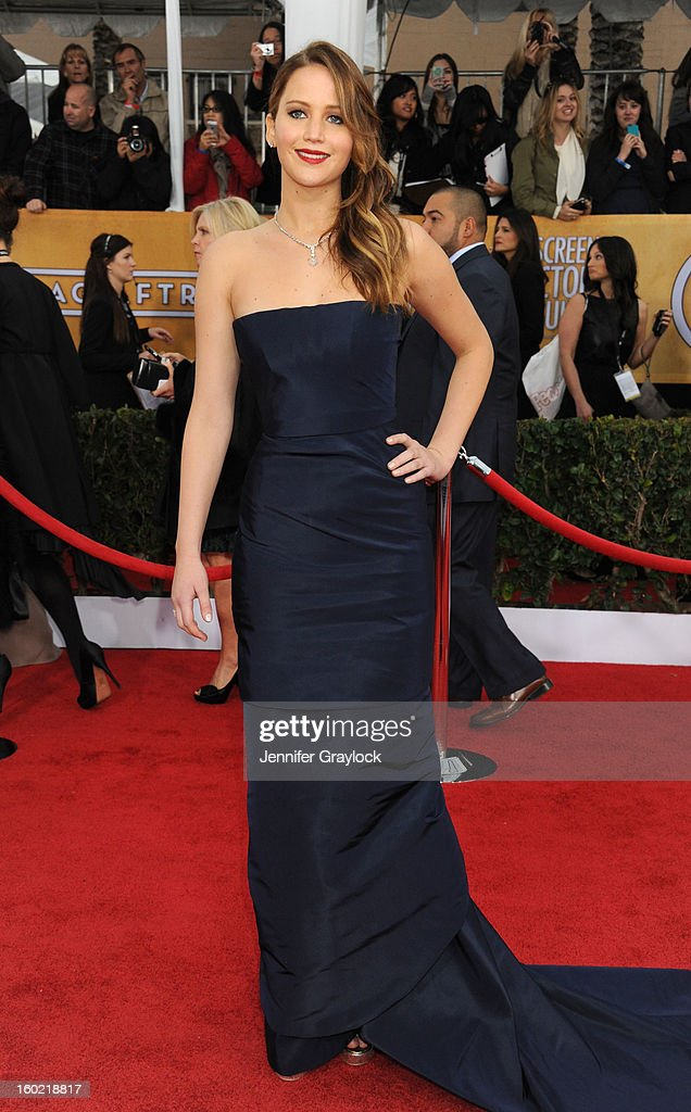 Actress Jennifer Lawrence arrives at the 19th Annual Screen Actors Guild Awards held at The Shrine Auditorium on January 27, 2013 in Los Angeles, California.