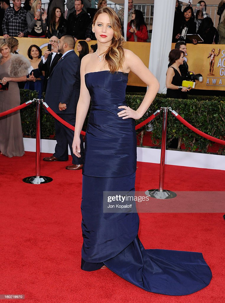 Actress Jennifer Lawrence arrives at the 19th Annual Screen Actors Guild Awards at The Shrine Auditorium on January 27, 2013 in Los Angeles, California.