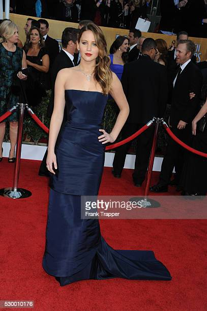 Actress Jennifer Lawrence arrives at the 19th Annual Screen Actors Guild Awards held at The Shrine Auditorium