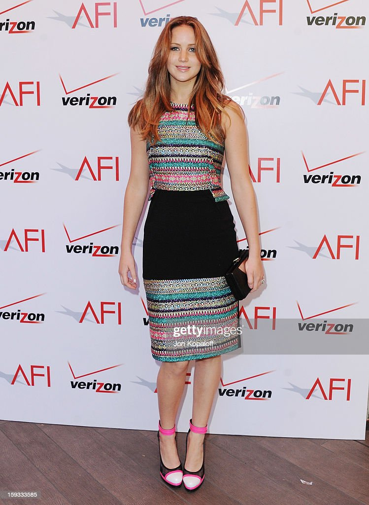 Actress <a gi-track='captionPersonalityLinkClicked' href=/galleries/search?phrase=Jennifer+Lawrence&family=editorial&specificpeople=1596040 ng-click='$event.stopPropagation()'>Jennifer Lawrence</a> arrives at the 2012 AFI Awards Luncheon on January 11, 2013 in Beverly Hills, California.