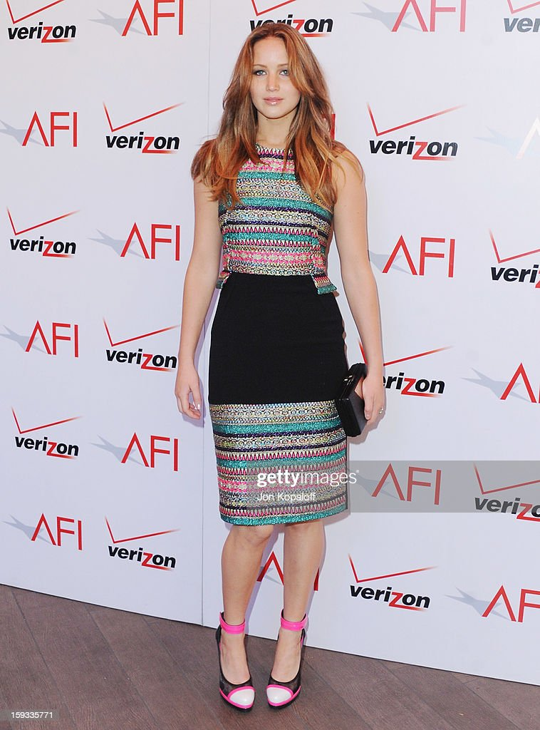 Actress Jennifer Lawrence arrives at the 2012 AFI Awards Luncheon on January 11, 2013 in Beverly Hills, California.