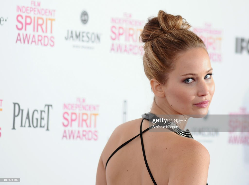 Actress Jennifer Lawrence arrives at The 2013 Film Independent Spirit Awards on February 23, 2013 in Santa Monica, California.