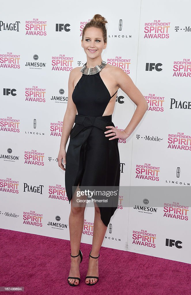 Actress Jennifer Lawrence arrives at the 2013 Film Independent Spirit Awards at Santa Monica Beach on February 23, 2013 in Santa Monica, California on February 23, 2013 in Santa Monica, California.